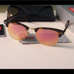 Ray ban amber frame rose gold sunglasses 51mm